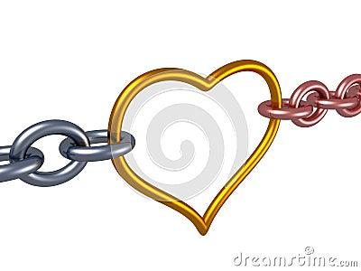 Love chain heart link. romance concept