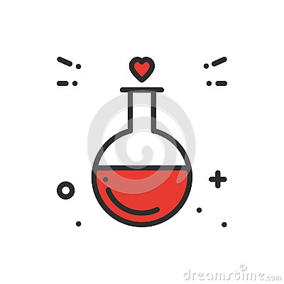 Free Love Chemistry Line Icon. Test Tube Love Fluid Reaction Laboratory Bottle Science Romantic Love Theme. Heart Shape Stock Image - 109366391