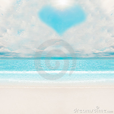 Love clouds over tropical beach