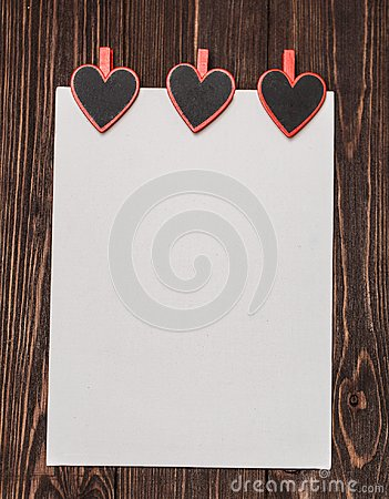 Free Love Concept For Mother`s Day And Valentine`s Day. Valentine. Love. Valentine`s Day Postcard. Happy Valentine`s Day Hearts On Wood Stock Photography - 108835922