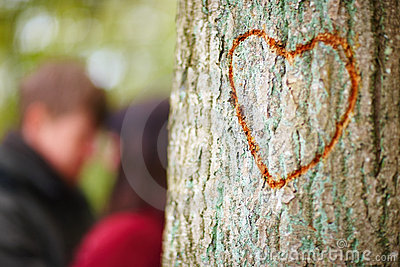 Love - Concept of love carved in tree - copyspace