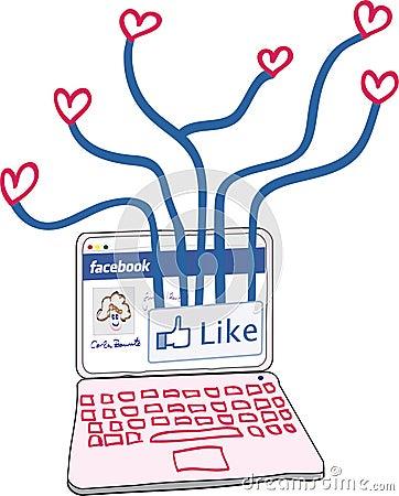 Love connections through Facebook Editorial Stock Photo