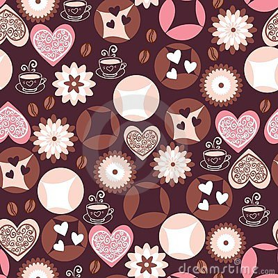 Love cookies and coffee cups pattern