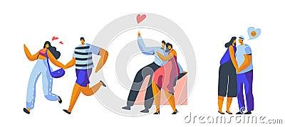 Love Couple Character Dating Set. Happy Lover Hug, Kiss, Sitting on Park Bench Isolated. Woman Man Romantic Flirt Vector Illustration