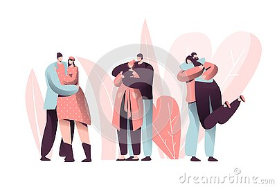 Love Couple Character Hug on Valentine Dating Set. Happy Lover Relationship Anniversary Lifestyle. Woman Man Romantic Vector Illustration