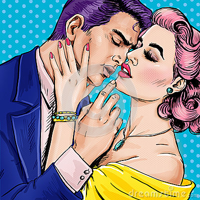 Free Love Couple.Pop Art Couple.Pop Art Love. Valentines Day Postcard. Hollywood Movie Scene. Love Pop Art Illustration Pop Art Love. Royalty Free Stock Photos - 63350508