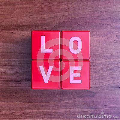 Love: Cubes with letters on cherry wood Stock Photo
