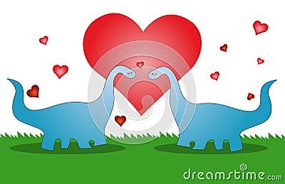 Love dinosaur, valentines card