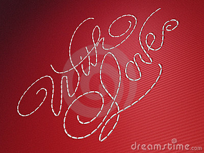 With love embroidery words on red