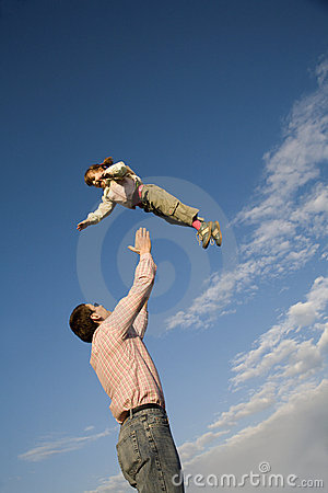 Love of father and child and sky