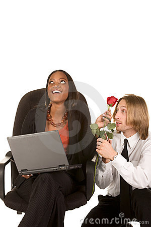 Love and flirt in business office on work place