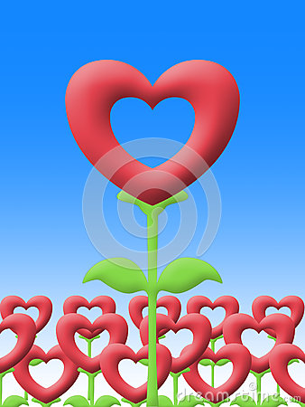 Love flower in garden illustration image