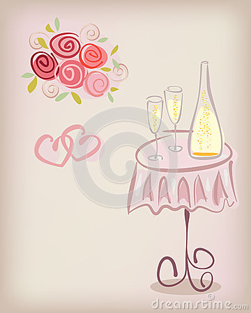 Love gift card with champagne and roses