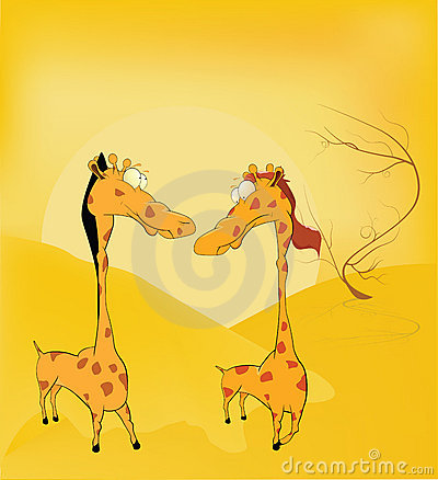 Love and Giraffes. Africa. Cartoon