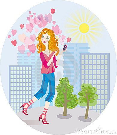 An in love girl gets tender SMS by phone
