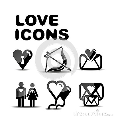 Love glossy icon set. Vector illustration