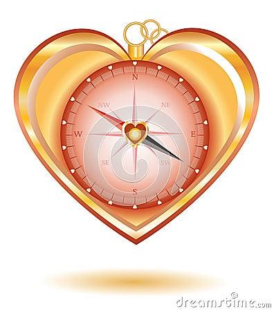 Love gold compass