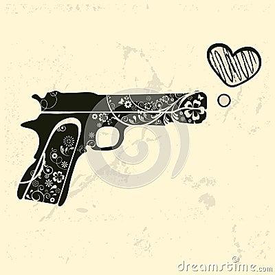 Free Love Gun. Vintage Emblem With Gun Shooting A Heart Stock Photos - 75753513