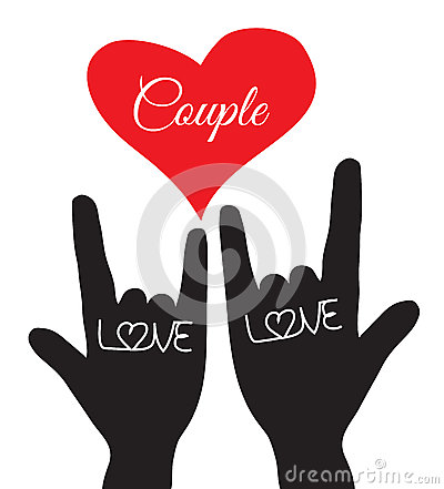 Free Love Hand Sign. Love Symbol. Couple, Lover. Vector Illustration Stock Photos - 65179673