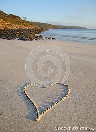 LOVE HEART ON BEACH Love heart drawn