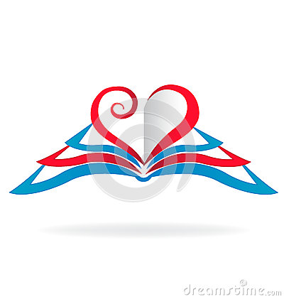 Free Love Heart Books Logo Royalty Free Stock Images - 89422609
