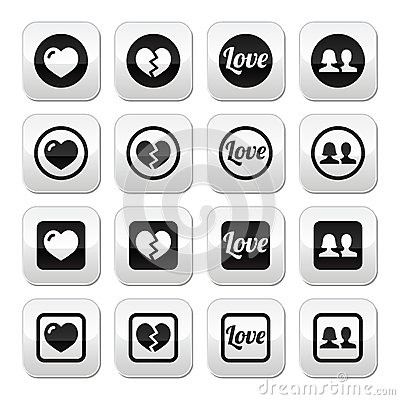 Love, heart, couple buttons for Valentine s day