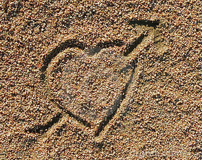Love heart icon in the sand
