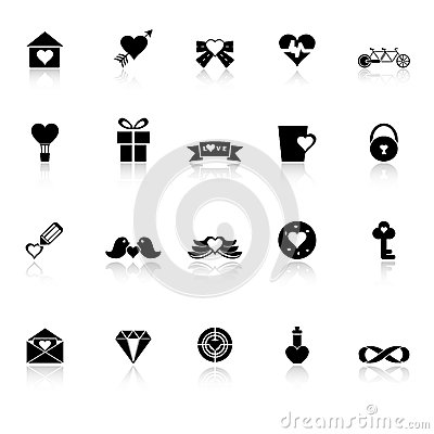 Love and heart icons with reflect on white backgro