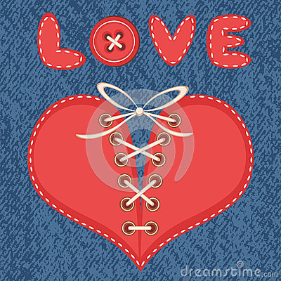 Love and heart with jeans background