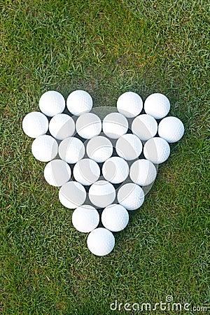 Free Love Heart Made Of Golf Balls Stock Photo - 59301770