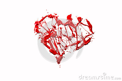 Love heart made of red color splash