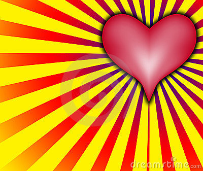 Love heart With Red And Yellow Rays