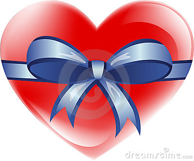 Love heart with ribbon