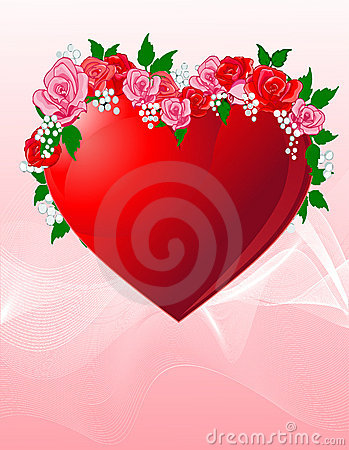 Love heart with roses