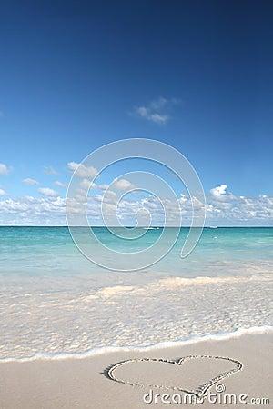 Love Heart On Sand Beach Tropical Ocean Royalty Free