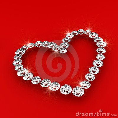 Love heart shape 3d diamond art illustration