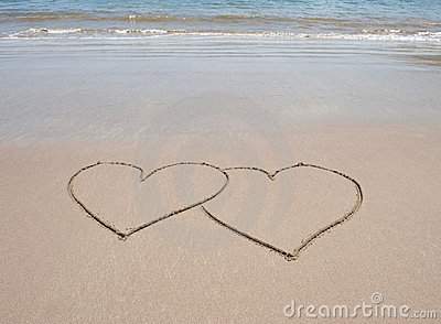 Hearts Love Pictures on Love Heart Symbols In Sand On Tropical Beach Stock Photo   Image