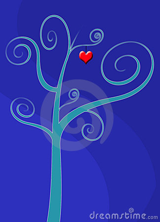 Love heart tree card