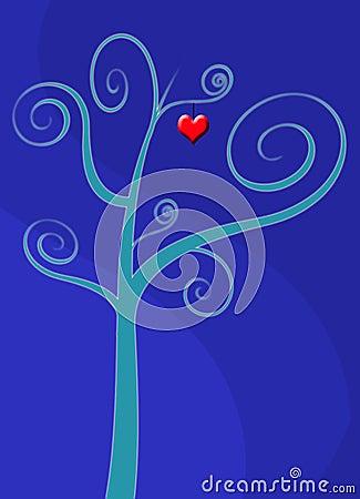 Love heart tree card