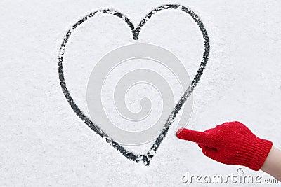 Love heart winter snow