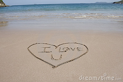 Love heart and words sand beach costa rica
