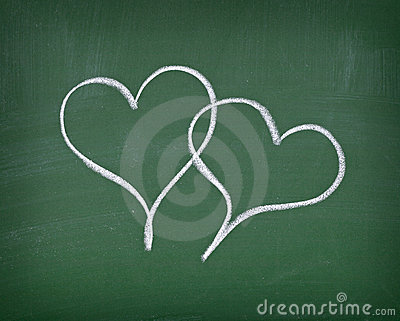 Love hearts on chalkboard
