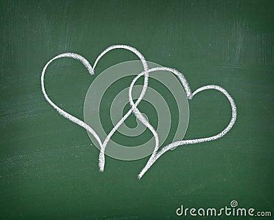 Love hearts on chalkboard