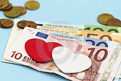 Love hearts on Euro money