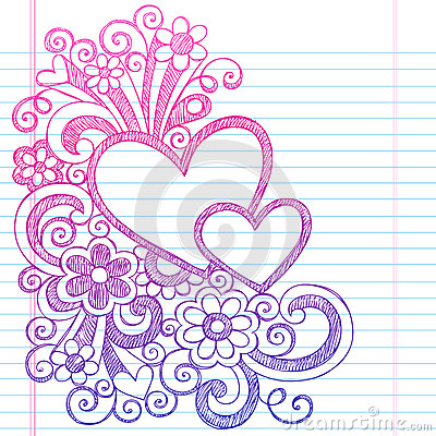 Hearts Valentine s Day Sketchy Doodle Vector Illustration