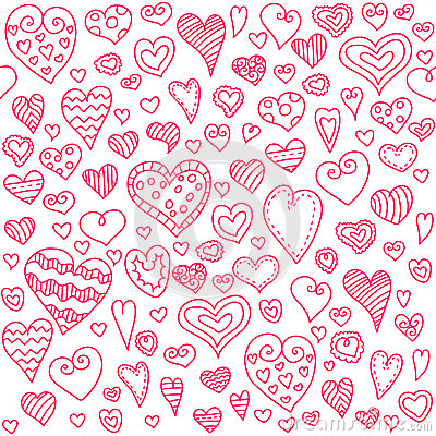 Love hearts seamless pattern. Doodle heart. Romantic background. Vector illustration Vector Illustration