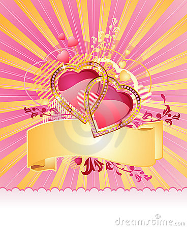 Free Love Hearts / With Banner / Valentine /  Vector Stock Images - 3829844