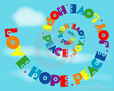 Love Hope Peace Joy Rainbow Spiral