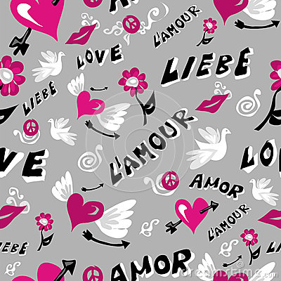 Love icons seamless pattern