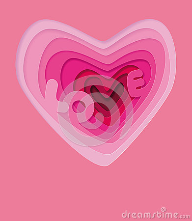 Free Love In Heart - Illustration Template. Love Wedding Symbols For A Card, Invitation. Volumetric 3d Heart. Valentine`s Day Stock Image - 94694771